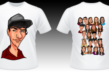 Caricatura Digital estampada em camiseta via transfer