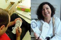 Caricaturas em sandálias feitas à mão ao vivo.